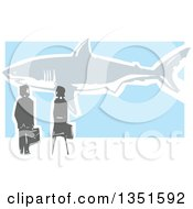 Clipart Of A Rear View Of A Woodcut Business Man And Woman Watching A Great White Shark Royalty Free Vector Illustration