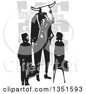 Rear View Of A Black And White Woodcut Business Man And Woman Speaking With A Bull Minotaur Boss Over Gray Designs