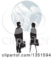 Clipart Of A Rear View Of A Woodcut Business Man And Woman Looking At Earth Royalty Free Vector Illustration