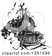 Clipart Of A Black And White Woodcut Locomotive Train On A Rail Road Royalty Free Vector Illustration