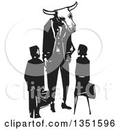 Clipart Of A Rear View Of A Black And White Woodcut Business Man And Woman And A Bull Minotaur Boss Royalty Free Vector Illustration