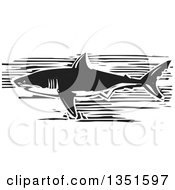 Clipart Of A Black And White Woodcut Swimming Great White Shark Royalty Free Vector Illustration