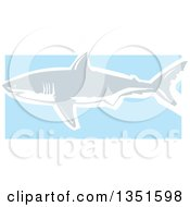 Clipart Of A Blue Gray And White Woodcut Swimming Great White Shark Royalty Free Vector Illustration by xunantunich