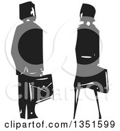 Clipart Of A Rear View Of A Black And White Woodcut Business Man And Woman Royalty Free Vector Illustration