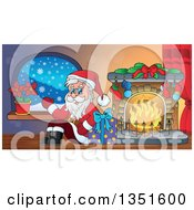 Clipart Of A Cartoon Christmas Santa Claus Waving And Sitting With A Gift By A Fireplace Royalty Free Vector Illustration by visekart