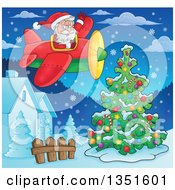 Clipart Of A Cartoon Christmas Santa Claus Waving And Flying An Airplane Over Houses And An Outdoor Christmas Tree At Night Royalty Free Vector Illustration