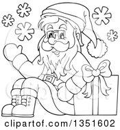 Clipart Of A Cartoon Black And White Christmas Santa Claus Waving And Sitting With A Gift Royalty Free Vector Illustration