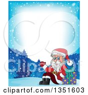 Clipart Of A Cartoon Border Of A Christmas Santa Claus Waving And Sitting With A Gift In The Snow Royalty Free Vector Illustration