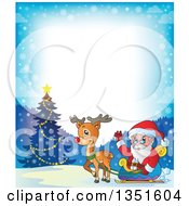 Clipart Of A Cartoon Christmas Border Of Santa Claus And Rudolph The Red Nosed Reindeer By An Outdoor Christmas Tree Royalty Free Vector Illustration by visekart