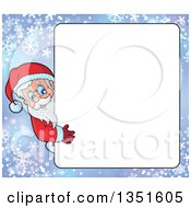 Clipart Of A Cartoon Christmas Santa Claus Looking Around A Blank Sign Over Snowflakes Royalty Free Vector Illustration