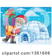 Clipart Of A Cartoon Christmas Santa Claus Carrying Gifts By An Igloo Royalty Free Vector Illustration by visekart
