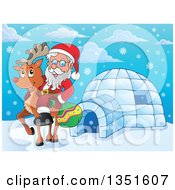 Clipart Of A Cartoon Christmas Santa Claus Riding Rudolph The Red Nosed Reindeer By An Igloo Royalty Free Vector Illustration by visekart