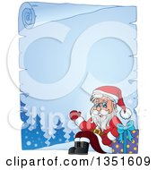 Clipart Of A Cartoon Frozen Parchment Scroll Border Of A Christmas Santa Claus Waving And Sitting With A Gift Royalty Free Vector Illustration