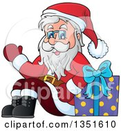 Clipart Of A Cartoon Christmas Santa Claus Waving And Sitting With A Gift Royalty Free Vector Illustration by visekart