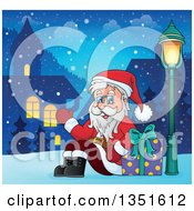 Clipart Of A Cartoon Christmas Santa Claus Waving And Sitting With A Gift In A Village At Night Royalty Free Vector Illustration