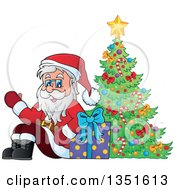 Clipart Of A Cartoon Christmas Santa Claus Waving And Sitting With A Gift By A Christmas Tree Royalty Free Vector Illustration