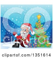 Clipart Of A Cartoon Christmas Santa Claus Waving And Sitting With A Gift By An Outdoor Christmas Tree Royalty Free Vector Illustration