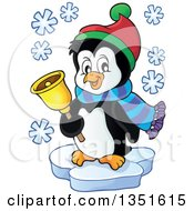 Clipart Of A Cute Christmas Penguin Ringing A Bell And Floating On Ice Royalty Free Vector Illustration