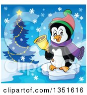 Clipart Of A Cute Christmas Penguin Floating On Ice And Ringing A Bell By A Tree Royalty Free Vector Illustration