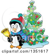 Clipart Of A Cute Christmas Penguin Ringing A Bell By A Tree Royalty Free Vector Illustration