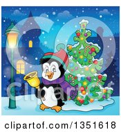 Clipart Of A Cute Christmas Penguin Ringing A Bell By A Tree In A Village At Night Royalty Free Vector Illustration