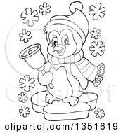 Clipart Of A Black And White Cute Christmas Penguin Ringing A Bell Royalty Free Vector Illustration