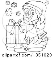Clipart Of A Cute Christmas Penguin Holding A Gift Royalty Free Vector Illustration