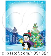 Clipart Of A Border Of A Cute Christmas Penguin Ringing A Bell By A Tree In The Snow Royalty Free Vector Illustration