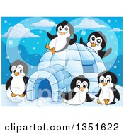 Clipart Of Cute Penguins Playing At An Igloo Royalty Free Vector Illustration by visekart