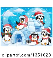 Clipart Of Cute Christmas Penguins Wearing Santa Hats And Playing At An Igloo Royalty Free Vector Illustration by visekart