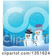 Clipart Of Cartoon Friendly Christmas Snowmen Against A Snowy Landscape Royalty Free Vector Illustration