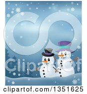 Clipart Of Cartoon Friendly Christmas Snowmen Against A Winter Landscape Royalty Free Vector Illustration