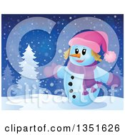Clipart Of A Cartoon Christmas Snow Woman Welcoming On A Snowy Night Royalty Free Vector Illustration