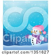 Clipart Of A Cartoon Christmas Snow Woman Welcoming In The Snow Royalty Free Vector Illustration