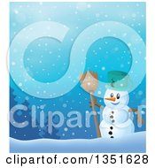 Clipart Of A Cartoon Christmas Snowman Holding A Broom Against A Snowy Landscape Royalty Free Vector Illustration