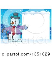 Clipart Of A Cartoon Christmas Snowman Presenting A Blank Sign In The Snow Royalty Free Vector Illustration