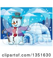 Clipart Of A Cartoon Christmas Snowman Presenting An Igloo Royalty Free Vector Illustration
