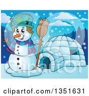 Clipart Of A Cartoon Christmas Snowman Holding A Broom By An Igloo Royalty Free Vector Illustration by visekart