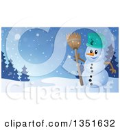 Clipart Of A Cartoon Christmas Snowman Holding A Broom Against A Winter Landscape Royalty Free Vector Illustration