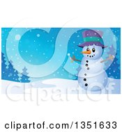 Clipart Of A Cartoon Christmas Snowman With Open Arms Over A Winter Landscape Royalty Free Vector Illustration
