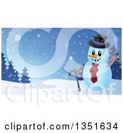 Clipart Of A Cartoon Christmas Snowman Holding A Cane And Waving Over A Winter Landscape Royalty Free Vector Illustration