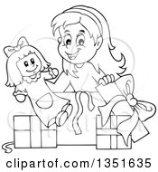 Clipart Of A Cartoon Black And White Girl Opening A Doll And Christmas Or Birthday Gifts Royalty Free Vector Illustration by visekart