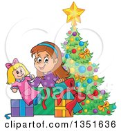 Clipart Of A Cartoon Brunette Caucasian Girl Opening A Doll And Christmas Gifts By A Tree Royalty Free Vector Illustration
