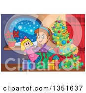 Clipart Of A Cartoon Brunette White Girl Opening A Doll And Christmas Gifts By A Tree Royalty Free Vector Illustration