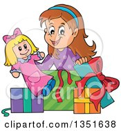 Clipart Of A Cartoon Brunette Caucasian Girl Opening A Doll And Christmas Or Birthday Gifts Royalty Free Vector Illustration