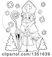Clipart Of A Black And White Cartoon Happy St Nicholas Royalty Free Vector Illustration