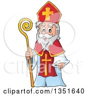 Clipart Of A Cartoon Happy St Nicholas Royalty Free Vector Illustration by visekart