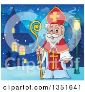 Clipart Of A Cartoon Happy St Nicholas In A Winter Village At Night Royalty Free Vector Illustration