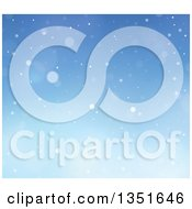 Clipart Of A Blue Winter Christmas Background Of Snow Royalty Free Vector Illustration