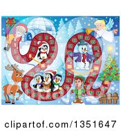Clipart Of A Christmas Board Game Of Santa Carrying Presents From An Igloo To A Tree Royalty Free Vector Illustration by visekart